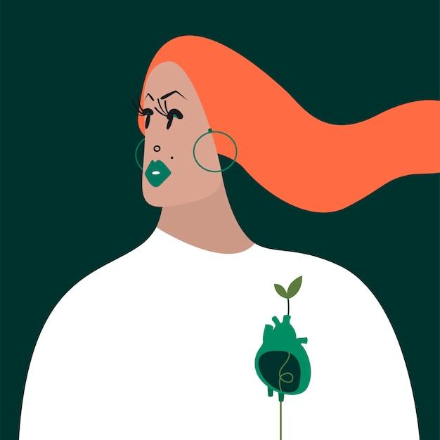 Personagem de mulher de gengibre com uma ilustração de coração verde
