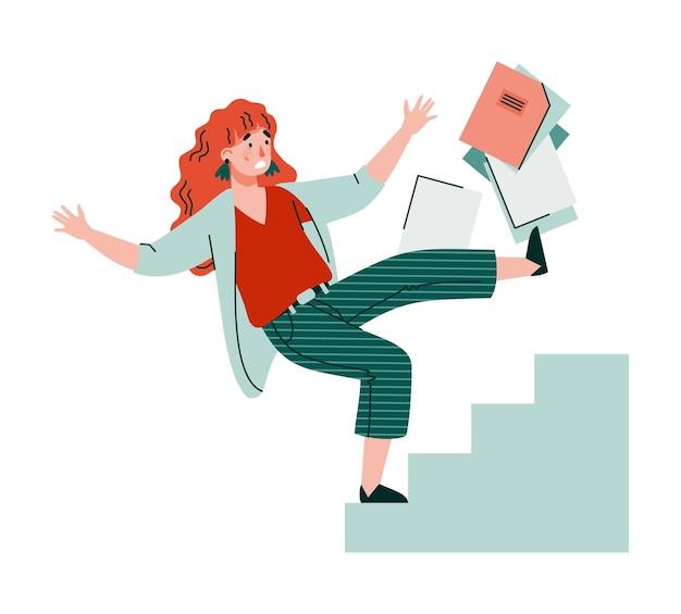 Personagem de mulher de negócios caindo de escadas