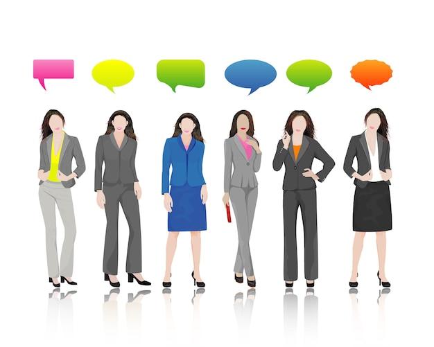 Personagem de mulher de negócios com conjunto de bolha do discurso