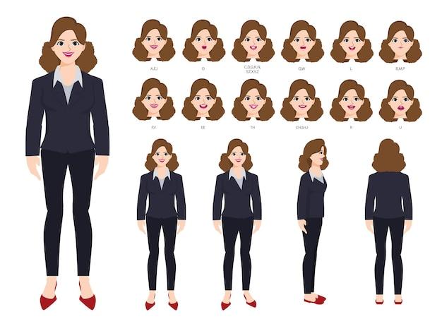 Personagem de mulher de negócios com diferentes poses e emoções