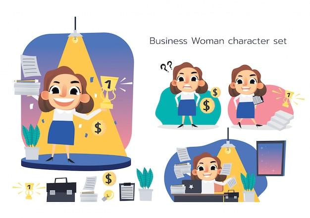 Personagem de mulher de negócios com seu conjunto de trabalho