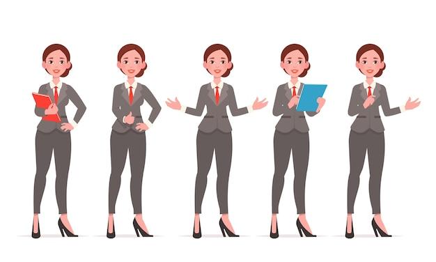 Personagem de mulher de negócios. conjunto de poses diferentes.