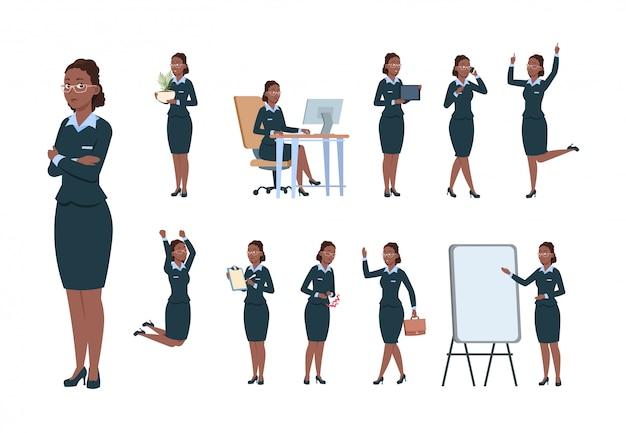 Personagem de mulher de negócios. fêmea de trabalhador profissional de escritório afro-americano em diferentes poses de atividade. conjunto de vetores de secretária dos desenhos animados
