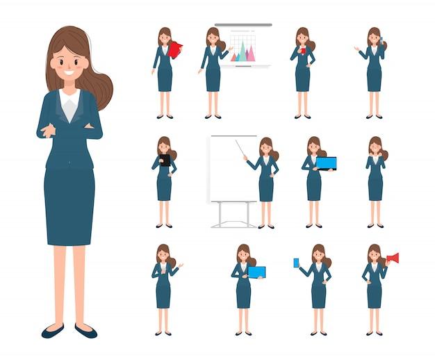 Personagem de mulher de negócios no trabalho
