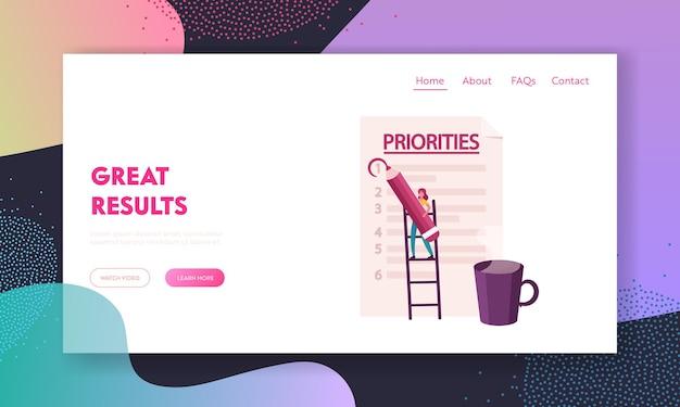 Personagem de mulher de negócios organiza o modelo de página inicial de prioridades.