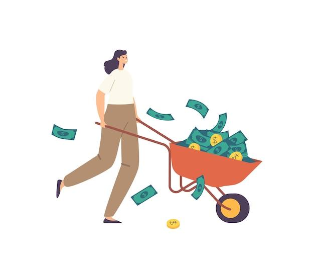 Personagem de mulher de negócios rica milionário com carrinho de mão de dinheiro cheio de moedas de ouro e dólares. conceito de crescimento, riqueza e prosperidade do negócio. investidor com dinheiro. ilustração em vetor de desenho animado