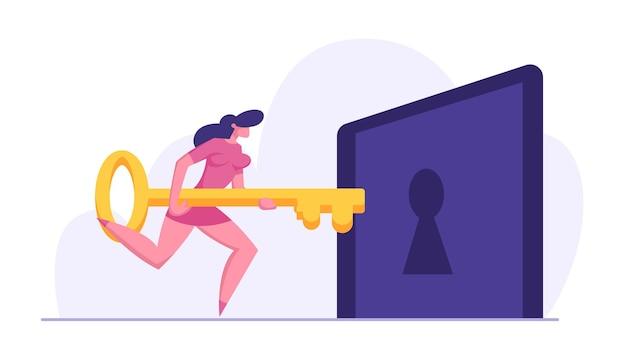 Personagem de mulher de negócios segurando uma grande chave e tentando destravar ilustração do buraco da fechadura