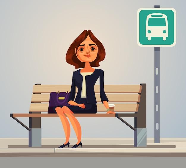 Personagem de mulher de negócios, trabalhadora de escritório, esperando o ônibus plana ilustração dos desenhos animados