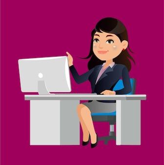 Personagem de mulher de negócios trabalhando em um laptop na mesa do escritório