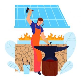 Personagem de mulher de trabalho de metal ferreiro, fêmea trabalhadora em profissional de ocupação de ferreiro