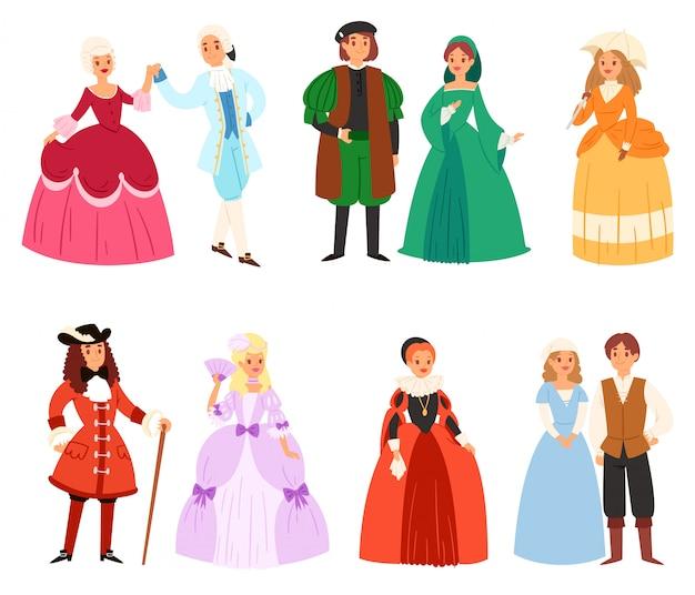Personagem de mulher e homem usando conjunto de roupas renascentistas