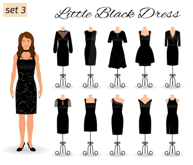 Personagem de mulher elegante em vestido preto. conjunto de vestidos de cocktail em um manequim.
