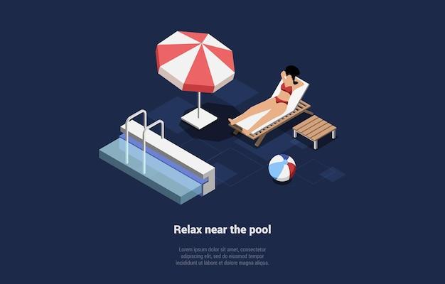 Personagem de mulher em trajes de banho para relaxar perto da piscina, deitada no salão, tomando banho de sol.