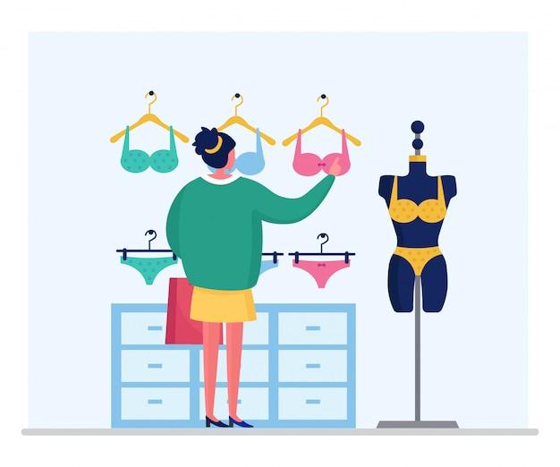 Personagem de mulher escolher lingerie moda, sutiã de cueca feminina isolado na ilustração branca, plana. sutiã de várias roupas íntimas de menina.