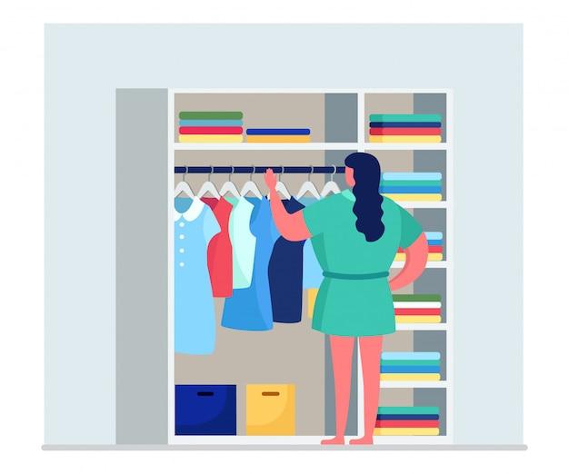 Personagem de mulher escolher roupas da moda elegantes, vestuário feminino construído em guarda-roupa isolada na ilustração branca, plana.