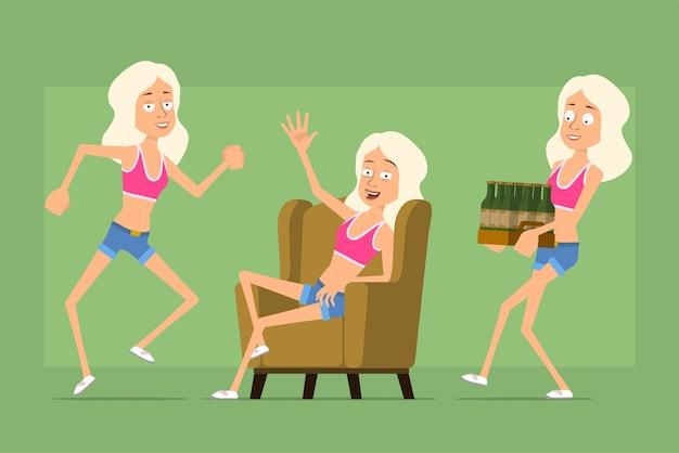 Personagem de mulher esporte plana engraçado dos desenhos animados em shorts jeans e camiseta. menina descansando, dançando e carregando cerveja.