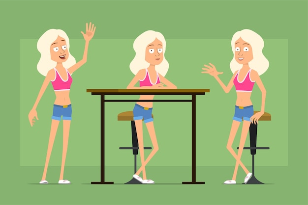 Personagem de mulher esporte plana engraçado dos desenhos animados em shorts jeans e camiseta. menina descansando, sentada na cadeira e dizendo olá.