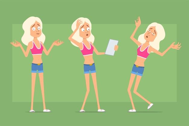 Personagem de mulher esporte plana engraçado dos desenhos animados em shorts jeans e camiseta. menina lendo nota, entendendo mal e caindo inconsciente.