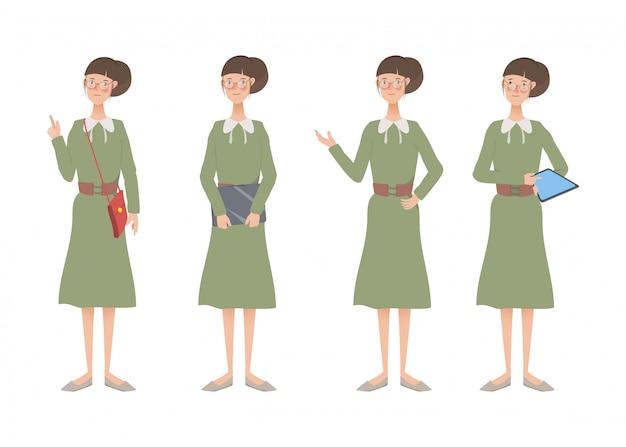 Personagem de mulher estilo de vida conjunto de animação.