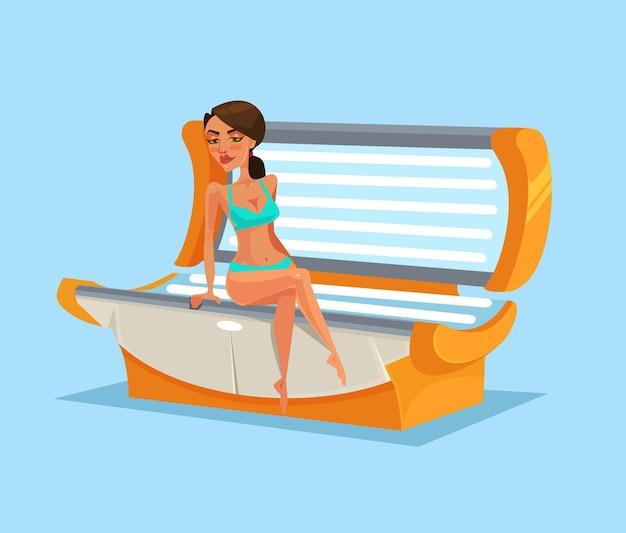 Personagem de mulher feliz e sorridente em ilustração plana dos desenhos animados do solário