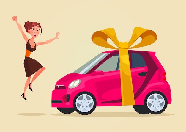 Personagem de mulher feliz e sorridente recebe ilustração de carro novo