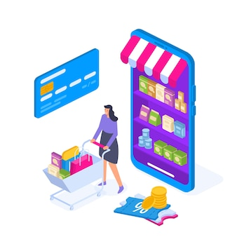 Personagem de mulher jovem com carrinho de compras