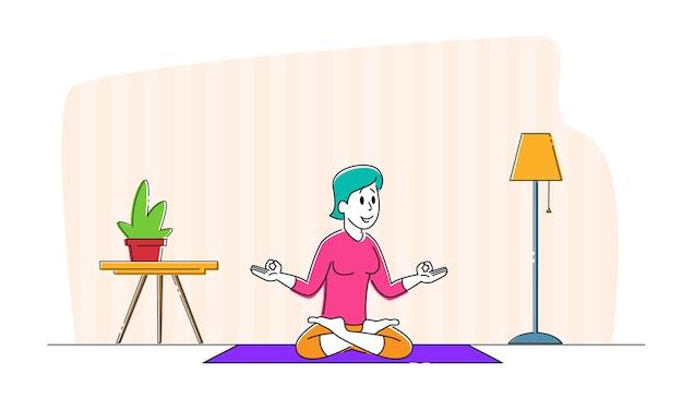 Personagem de mulher jovem meditando sentada na postura de lótus em casa