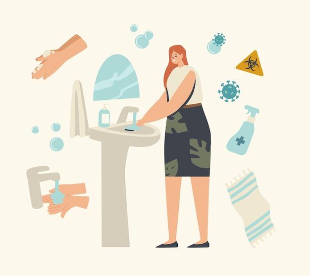 Personagem de mulher lavando as mãos no banheiro com gel desinfetante ou sabonete antibacteriano e células covid voando por aí
