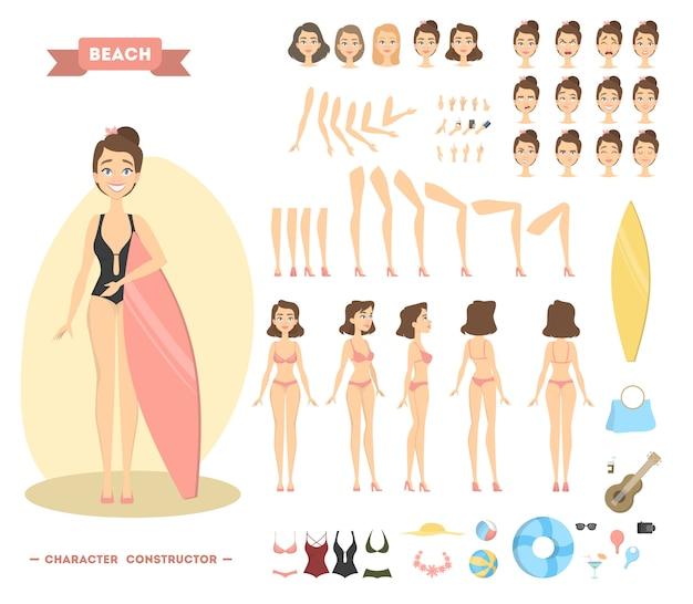 Personagem de mulher na praia. poses e emoções com coisas.
