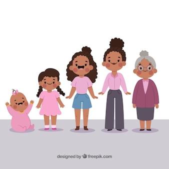 Personagem de mulher negra em diferentes idades