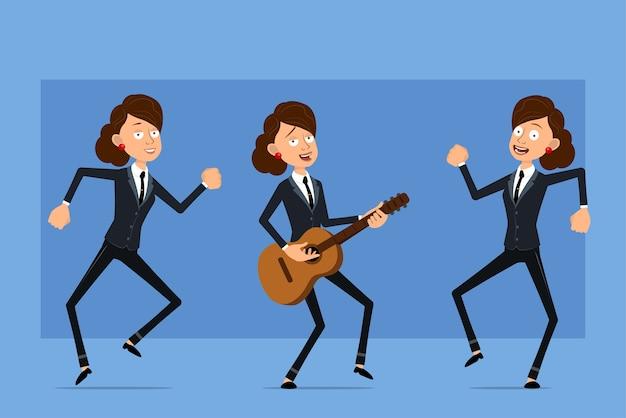 Personagem de mulher plana engraçado dos desenhos animados em terno preto com gravata preta. garota pulando, dançando e tocando rock na guitarra.