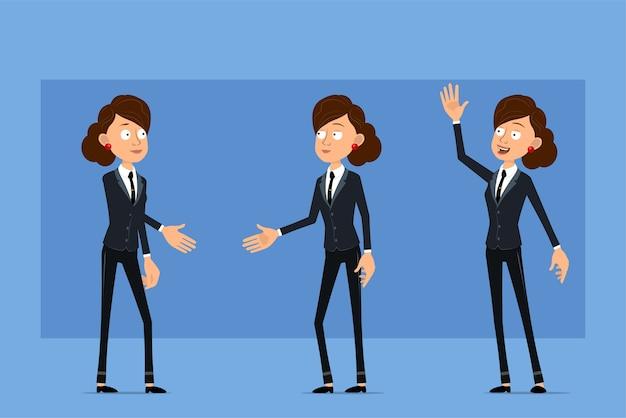 Personagem de mulher plana engraçado dos desenhos animados em terno preto com gravata preta. menina apertando as mãos e mostrando o sinal de olá.