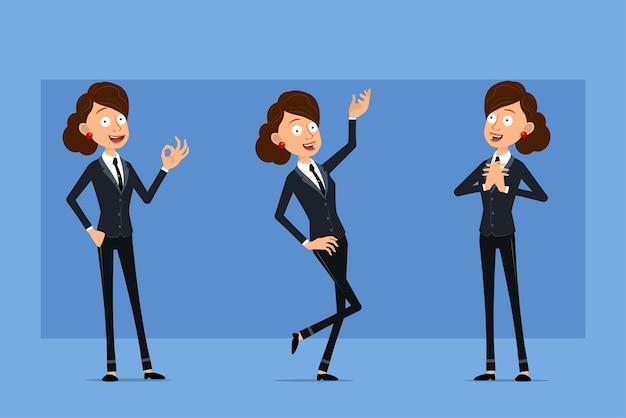 Personagem de mulher plana engraçado dos desenhos animados em terno preto com gravata preta. menina pensando, posando e mostrando sinal de tudo bem.
