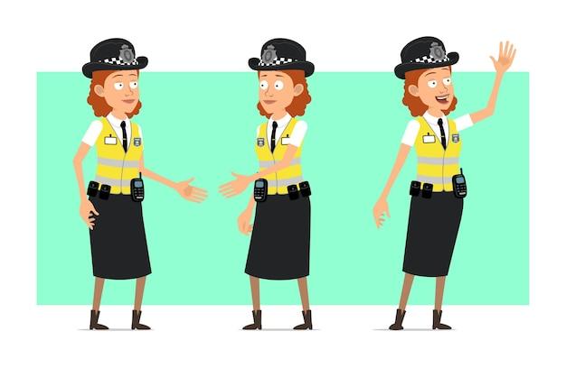 Personagem de mulher plana engraçado polícia britânica dos desenhos animados na jaqueta amarela com distintivo. menina apertando as mãos e mostrando um gesto de boas-vindas.