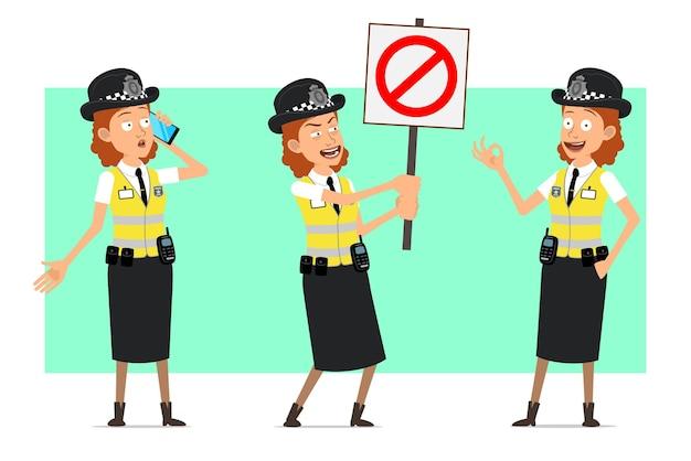 Personagem de mulher plana engraçado polícia britânica dos desenhos animados na jaqueta amarela com distintivo. menina falando no telefone e segurando nenhuma placa de pare de entrada.