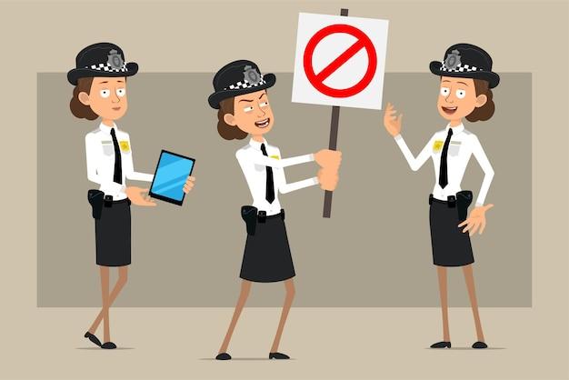 Personagem de mulher plana engraçado policial britânico de desenho animado de chapéu preto e uniforme com distintivo. menina segurando tablet inteligente e sem placa de entrada.