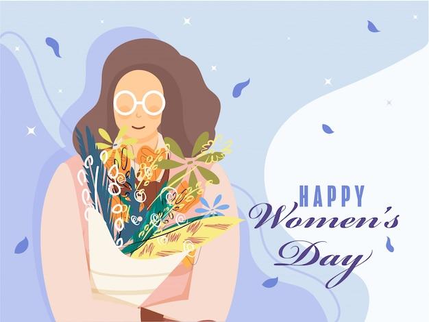 Personagem de mulher segurando o buquê de flores sobre fundo azul, para o dia da mulher feliz.