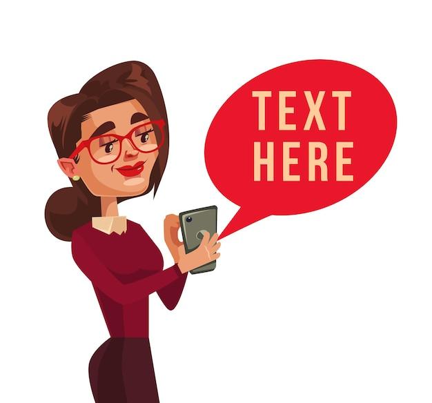 Personagem de mulher sorridente feliz recebe mensagem. ilustração plana dos desenhos animados