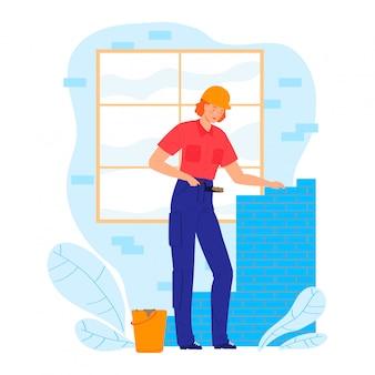 Personagem de mulher trabalhador construção colocar alvenaria, construtor profissional de ocupação feminina