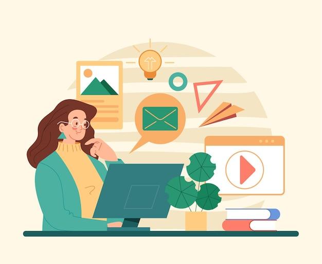 Personagem de mulher usando as mídias sociais do computador flat