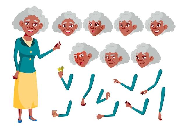 Personagem de mulher velha. africano. construtor de criação para animação. emoções de rosto, mãos.