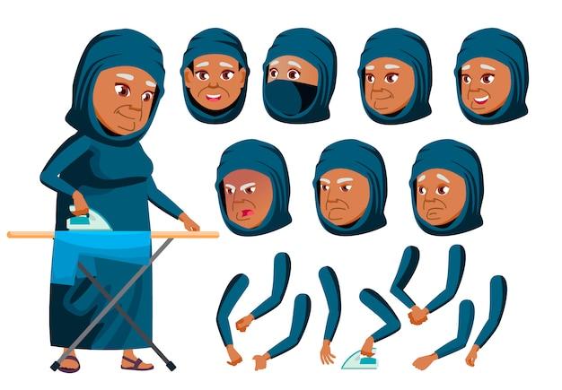 Personagem de mulher velha. árabe. construtor de criação para animação. emoções de rosto, mãos.