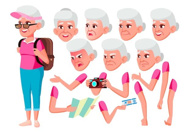 Personagem de mulher velha. europeu. construtor de criação para animação. emoções de rosto, mãos.