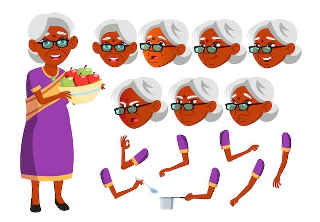 Personagem de mulher velha. indiano. construtor de criação para animação. emoções de rosto, mãos.