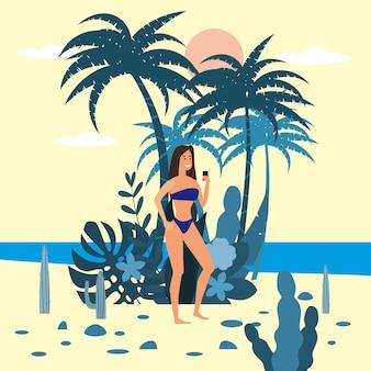 Personagem de mulheres com smartphone em biquíni no fundo de plantas exóticas do mar de palma
