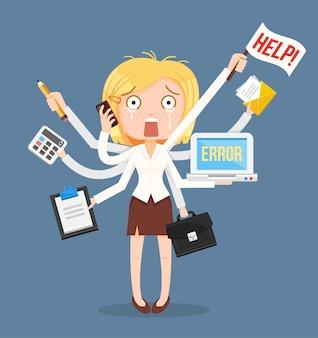 Personagem de mulheres de negócios ocupadas. trabalho árduo multitarefa.