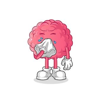 Personagem de nariz assoar o cérebro. mascote dos desenhos animados