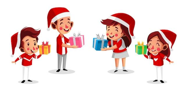 Personagem de natal crianças felizes segurando presentes