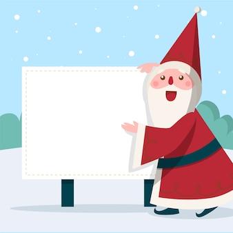 Personagem de natal papai noel segurando bandeira em branco