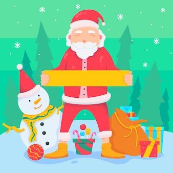Personagem de natal santa segurando bandeira em branco